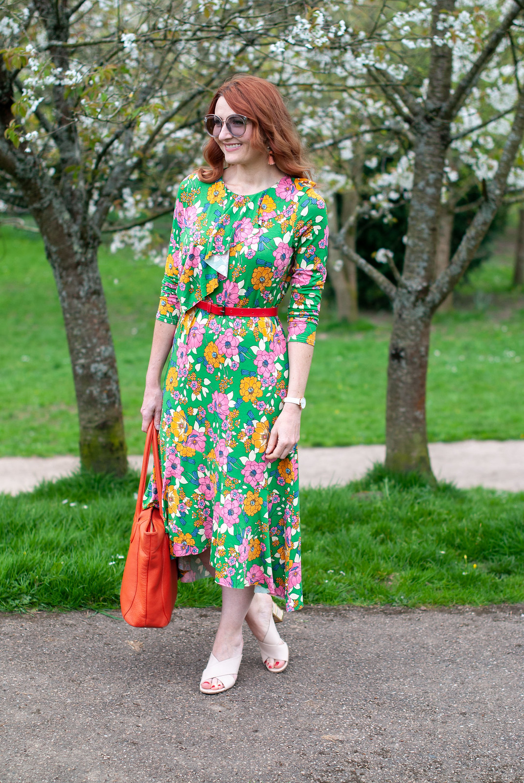 Wearing a Psychedelic Spring Florals Dress: 60 style floral midi dress with asymmetric hem \ summer style \ bright colours \ outfit of the day \ ootd | Not Dressed As Lamb, over 40 style