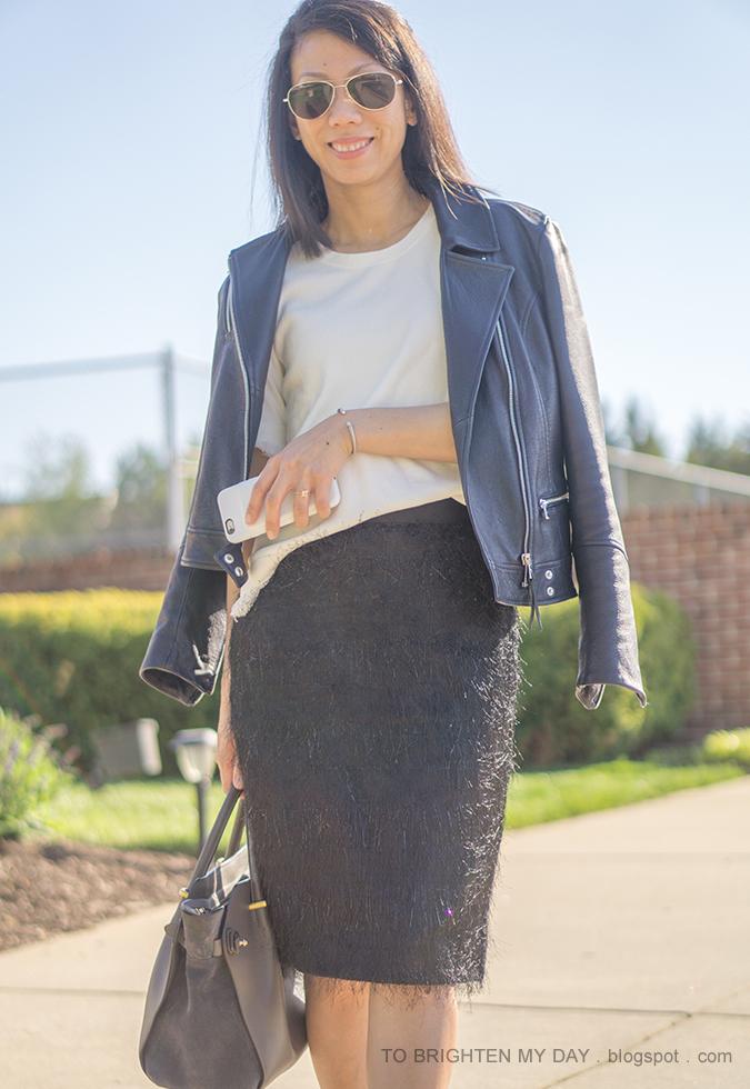 black leather jacket, white fringe sweater tee, black eyelash pencil skirt, gray tote