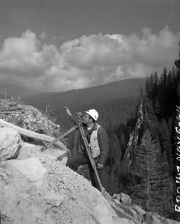 Surveyor at Boundary Dam site, 1964