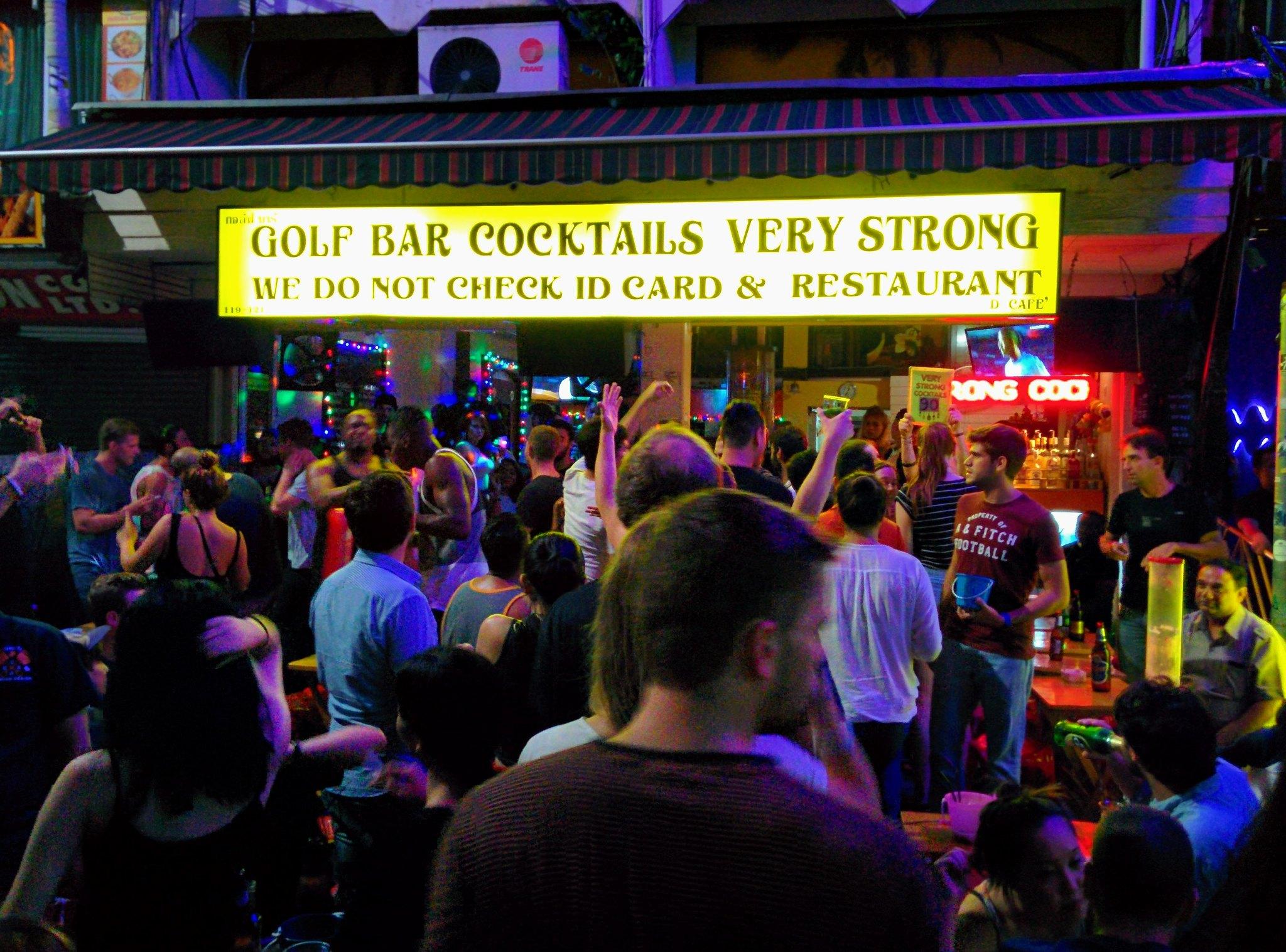 A busy bar on Khao San road