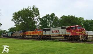 BNSF 294 Leads SB Manifest Olathe, KS 5-24-18