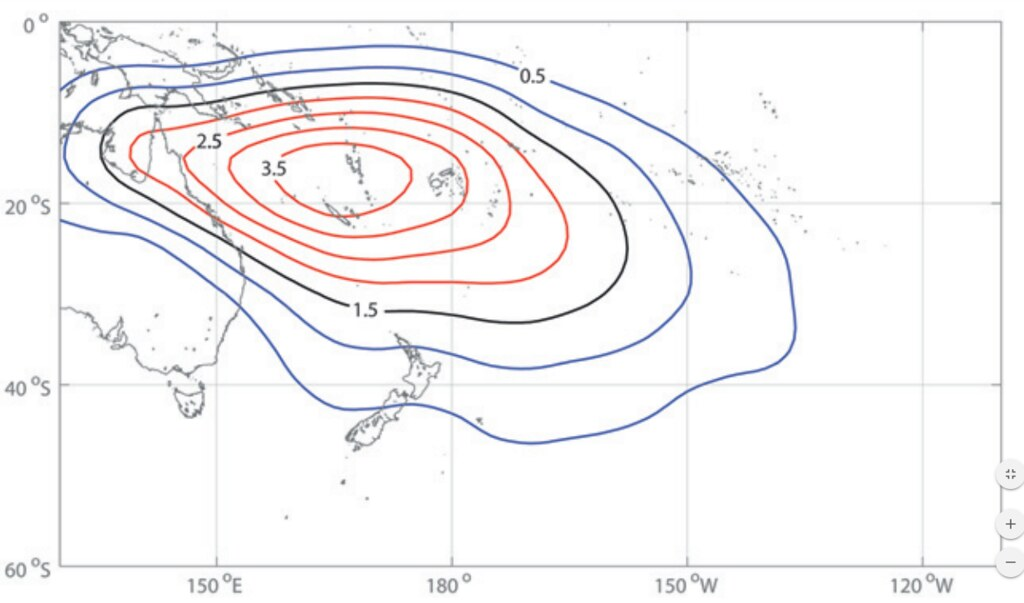 a climatology contour plat indicating the spatial distribution and average number of tropical cyclones in the South-western Pacific