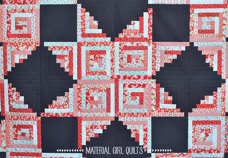 Little Ruby's Log Cabin quilt by Amanda Castor of Material Girl Quilts