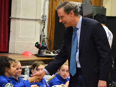 Rep. Fred Wilms with students from the young astronauts program.