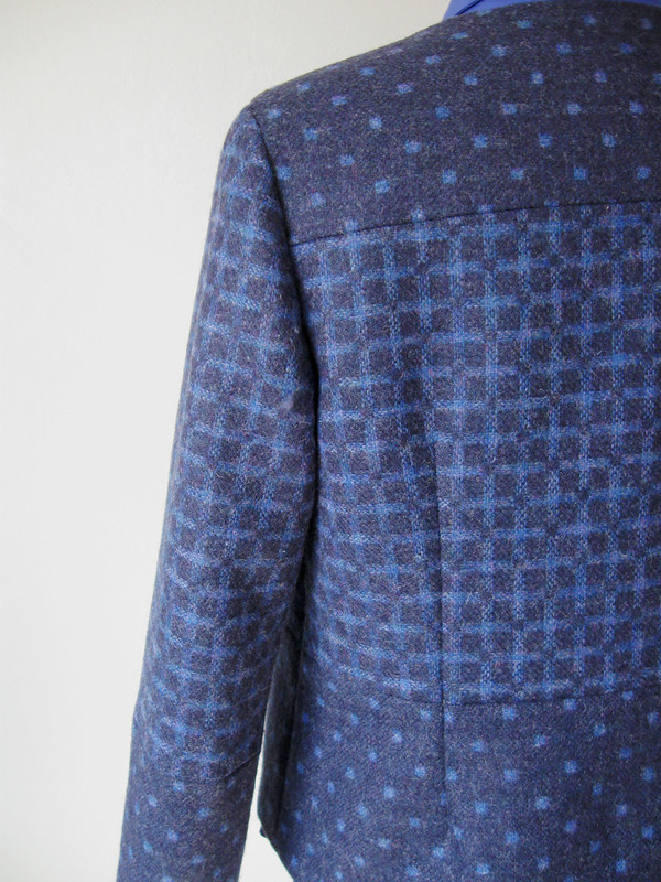 blue wool 2side sleeve plaid