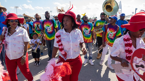 Ladies of Unity and Free Agents Brass Band on Day 1 of Jazz Fest - 4.27.18. Photo by Charlie Steiner.