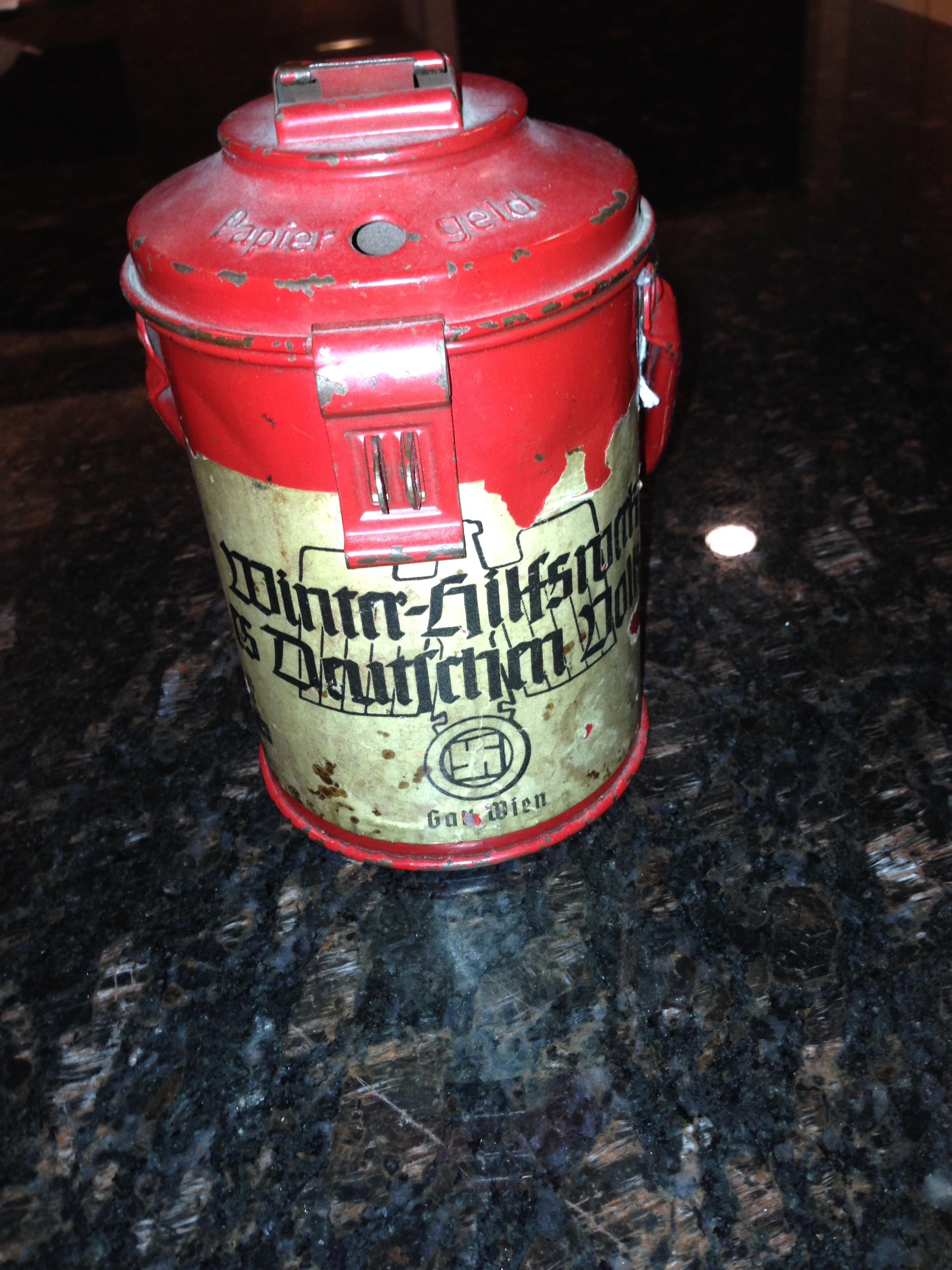 Collection tin used for Winterhilfswerk.