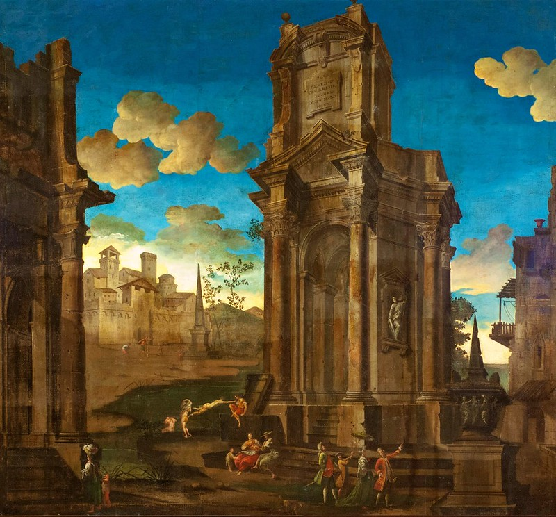 Pietro Paltronieri (attributed) - Three capricci with figures among classical ruins