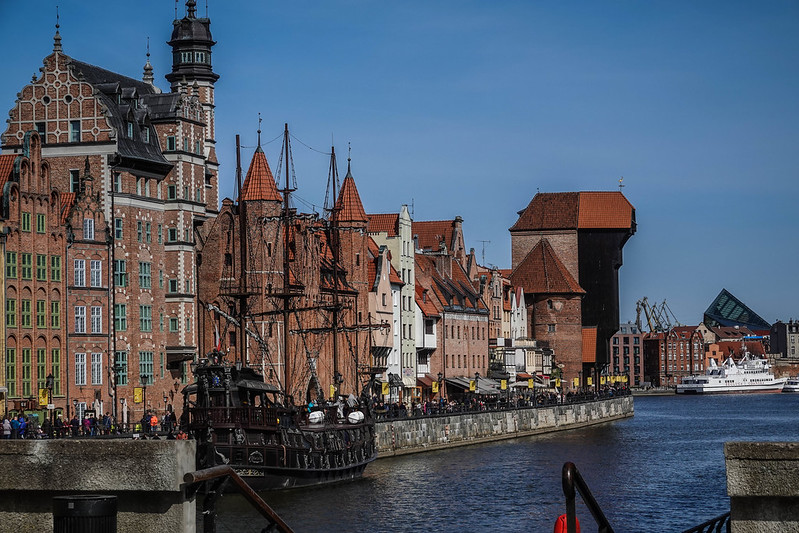 The ship and crane gdansk poland puola