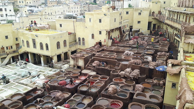 View from above the tanneries dyeing tanks in Fes Medina, Morocco