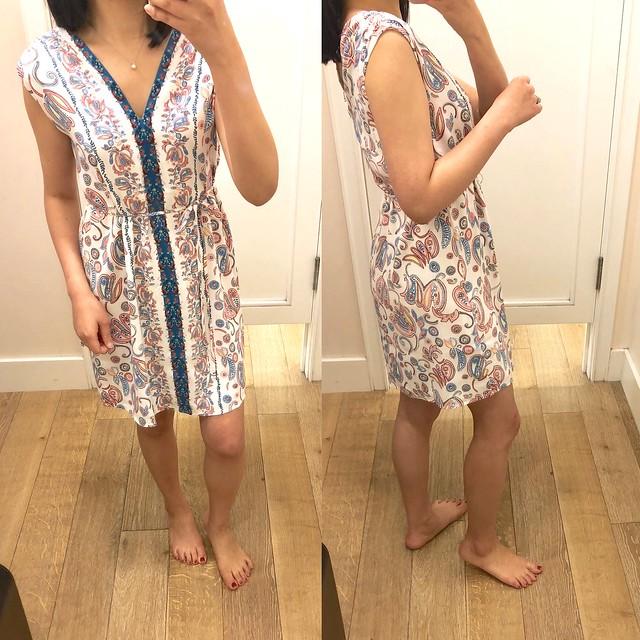 LOFT Floral Paisley Tie Waist Dress, size XXSP