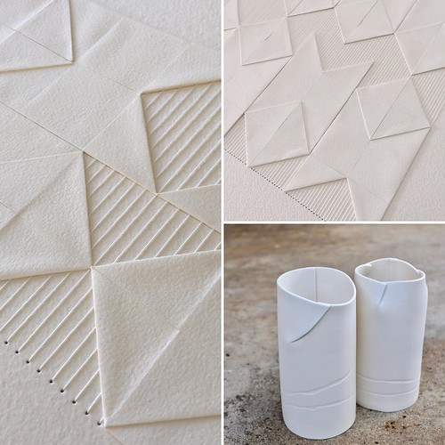 Origami-Inspired Paper Stitching and Ceramics by Liz Sofield