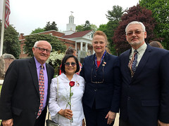 Rep. McCarty with Tan Patchem, Paul Patchem and Joe J at the Montville Memorial Day ceremony on May 20, 2018. Mrs. Patchem is  Gold Star mother who lost her son, Ahn, in Iraq.