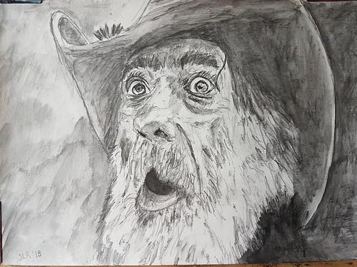 Surprised ! Koh-i-noor Progresso Aquarelle Watercolor charcoal pen