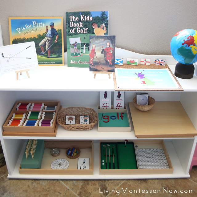 Montessori Shelves with Golf-Themed Activities