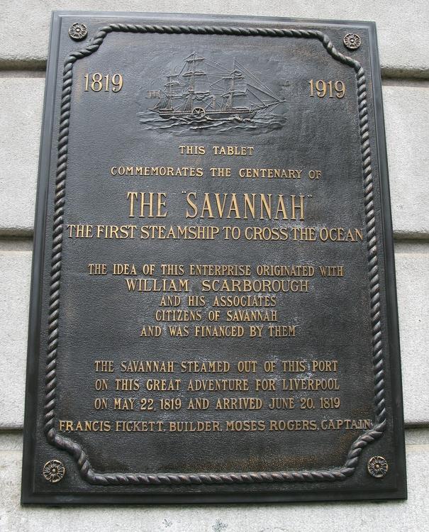 Plaque commemorating S.S. Savannah in Savannah, Georgia.
