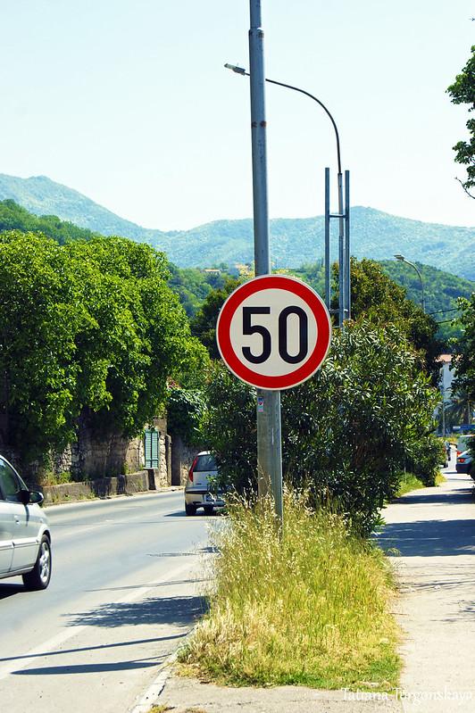 Дорожный знак с ограничением скорости