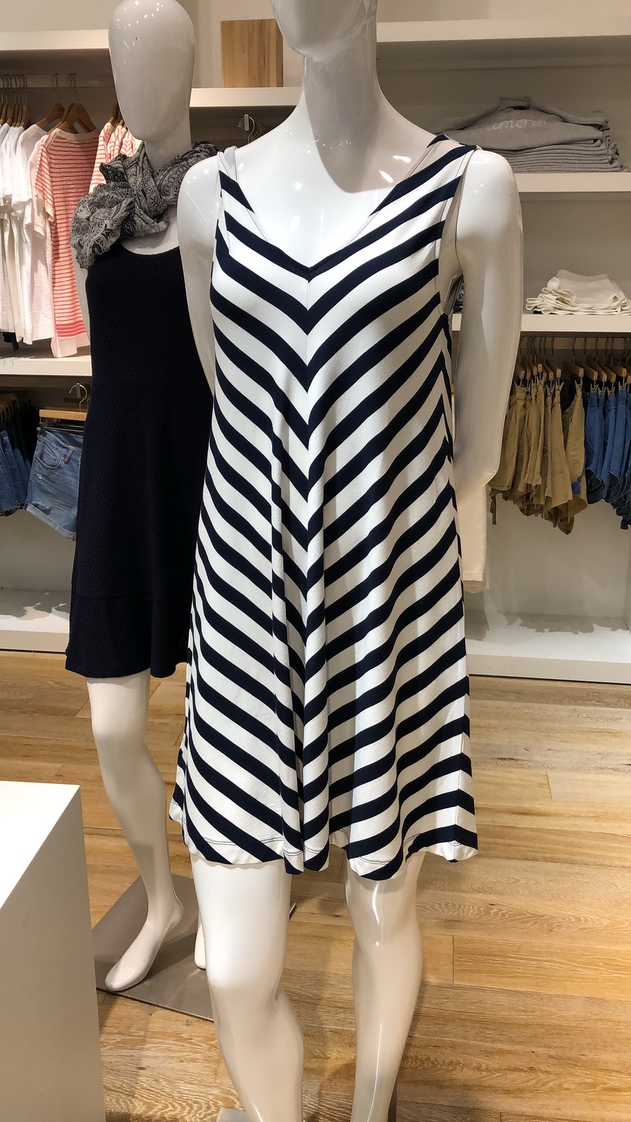 LOFT Chevron Sleeveless Swing Dress