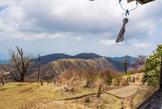 丹沢山へ連なる主脈@蛭ヶ岳山荘のデッキ