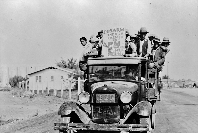 Mexican-American workers on strike. California, 1933.