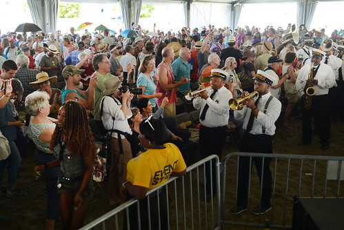 Treme Brass Band parade in Economy Hall on Day 3 of Jazz Fest - April 29, 2018. Photo by Leon Morris.