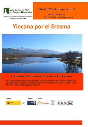 Cartel con información de la actividad de voluntariado para familias en el Parque Nacional de Sierra de Guadarrama, en Los asientos, el sábado 12 de mayo de 2018 de 12 a 14 horas. Es una yincana por el Eresma, donde los más pequeños conocerán los secretos del río Eresma