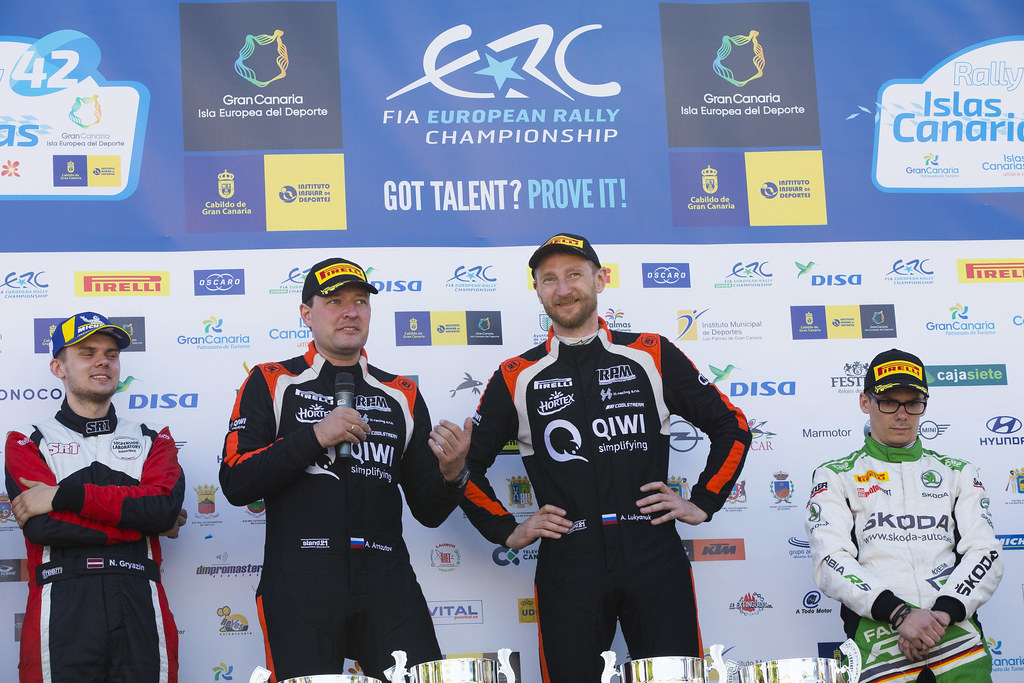 LUKYANUK Alexey (rus), ARNAUTOV Alexey (rus), Russian Performance Motorsport, FORD FIESTA R5, portrait conference de presse, press conference during the 2018 European Rally Championship ERC Rally Islas Canarias, El Corte Inglés,  from May 3 to 5, at Las Palmas, Spain - Photo Gregory Lenormand / DPPI