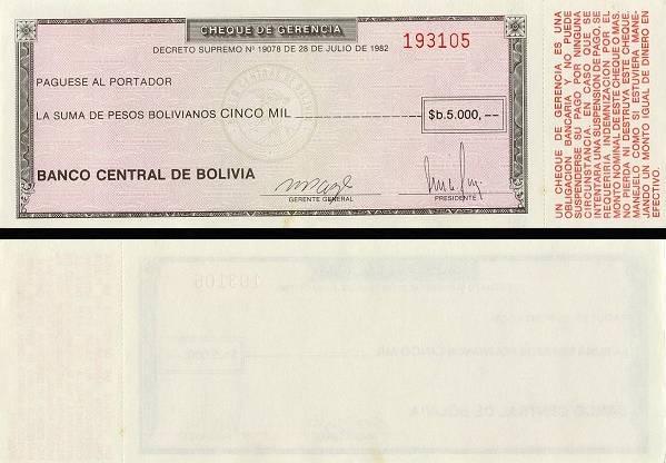 5000 Pesos Bolivianos Bolívia 1984, P172a
