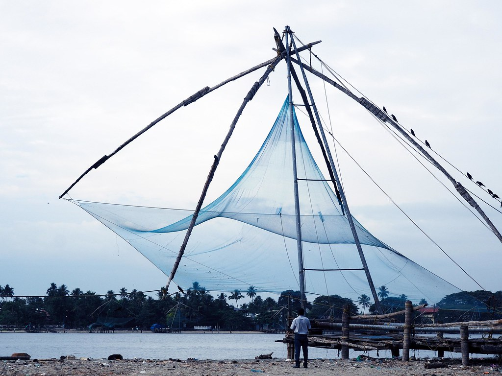 Chinese Fishing Nets Cochin Kochi India Sunset_effected