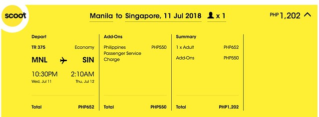 Scoot Manila to Singapore July 11, 2018