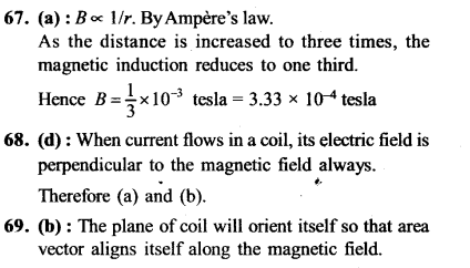 NEET AIPMT Physics Chapter Wise Solutions - Moving Charges and Magnetism explanation 67,68,69,