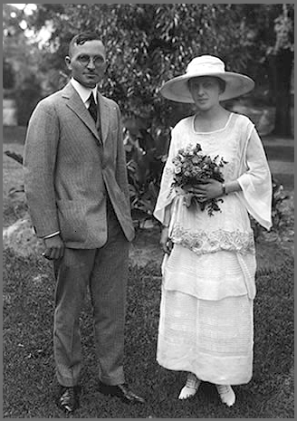 Wedding photo of Harry and Bess Truman, June 28, 1919. They are in the backyard of 219 N. Delaware, Independence, Missouri. Photo courtesy of the Truman Library.