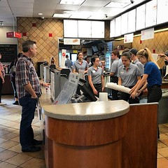 @h_forehand's first day at work at Chick-fil-A and she had to wait on this crazy guy...oh wait that's just our old neighbor @joetolley. Never know who you'll run into around here. :)