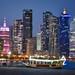 sunset skyline Doha, Qatar