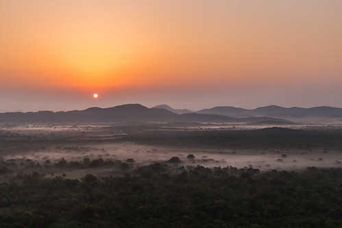 srilanka pidurangalarock sigiriya jungle sunrise sun trees mountains nature landscape canon
