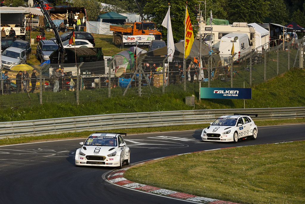 48 MULLER Yvan (FRA), YMR, Hyundai i30 N TCR, 11 BJORK Thed (SWE), YMR, Hyundai i30 N TCR, action during the 2018 FIA WTCR World Touring Car cup of Nurburgring, Nordschleife, Germany from May 10 to 12 - Photo Florent Gooden / DPPI