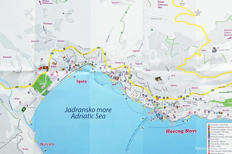 Туристическая карта Херцег Нови и Игало