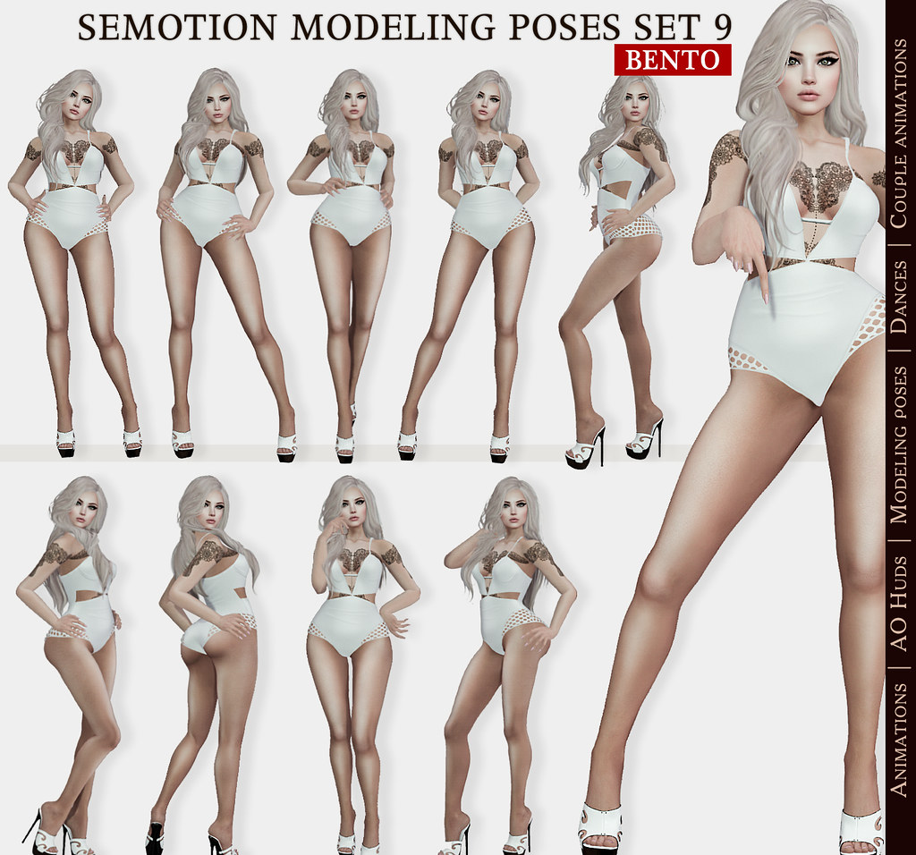 SEmotion Female Bento Modeling poses Set 9 - 10 static poses - TeleportHub.com Live!