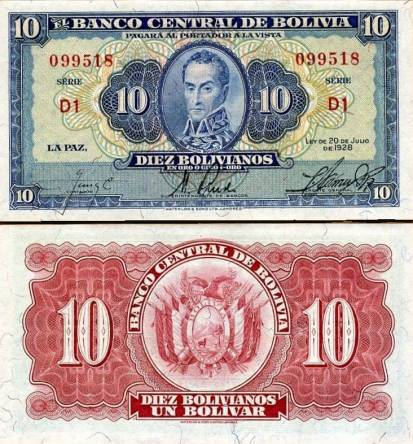 10 Bolivianos Bolívia 1928, P130