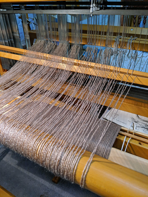 Entering zephyr warp threads on Schacht Mighty Wolf loom by irieknit