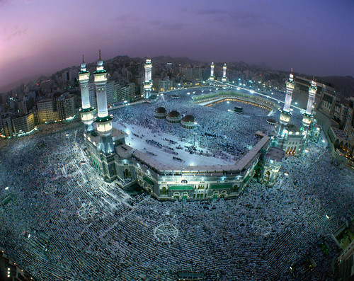 people distortion architecture evening twilight dusk many islam religion praying crowd group middleeast aerialview wideangle mosque muslims saudiarabia pilgrimage mecca hajj pilgrims fisheyelens viewfromabove grandmosque greatmosque worshiping persiangulfstates makkahprovince
